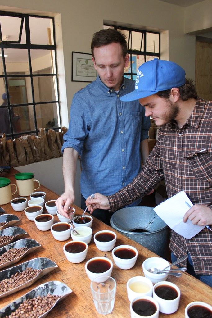 Klaus and Casper cupping, at the Central Kenya Coffee Mill, Nyeri, Kenya.