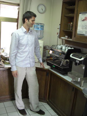 Peter in the cupping room.