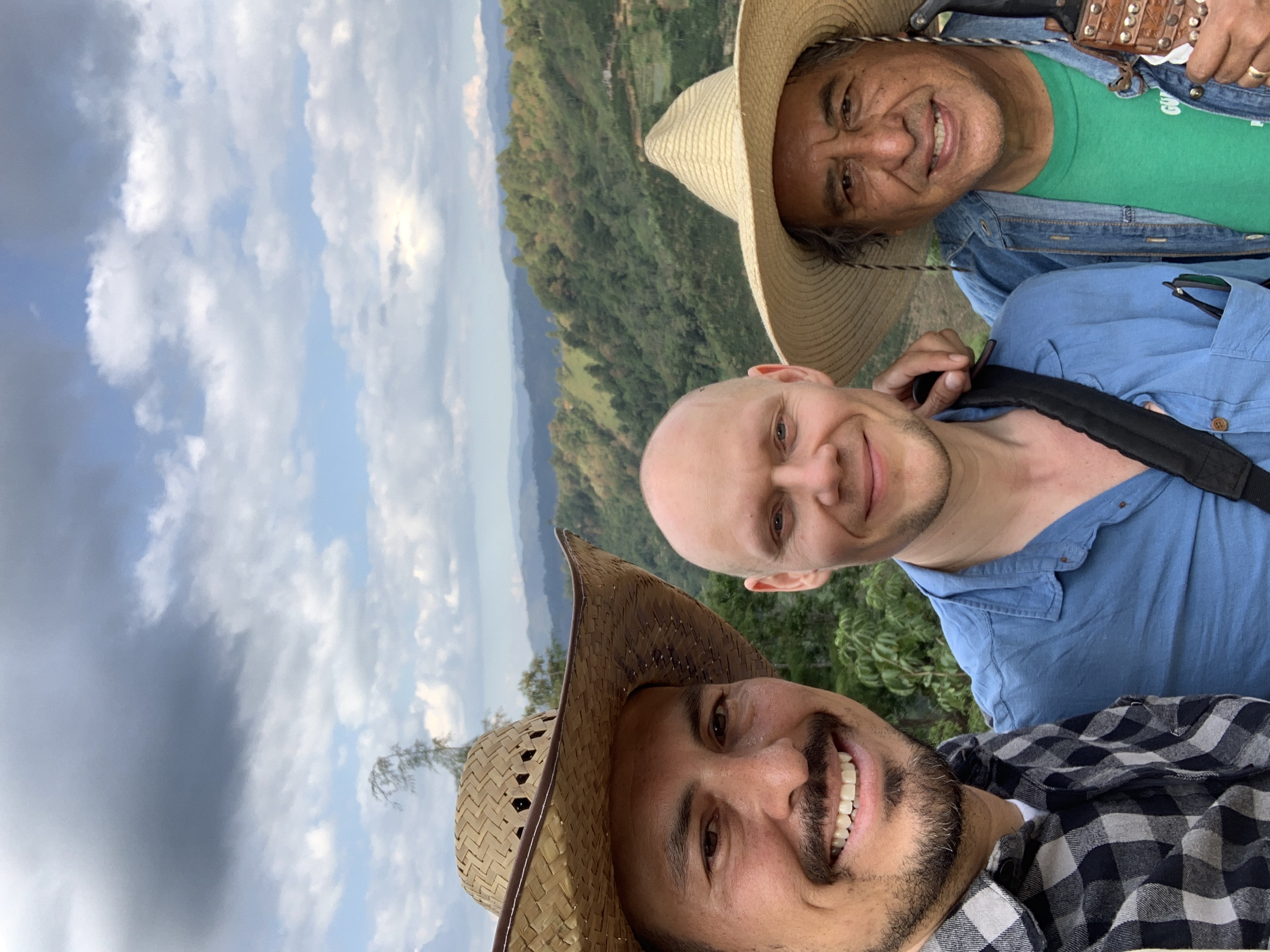 Edwin, Samuli and Edwin Sr. at the top of the farm