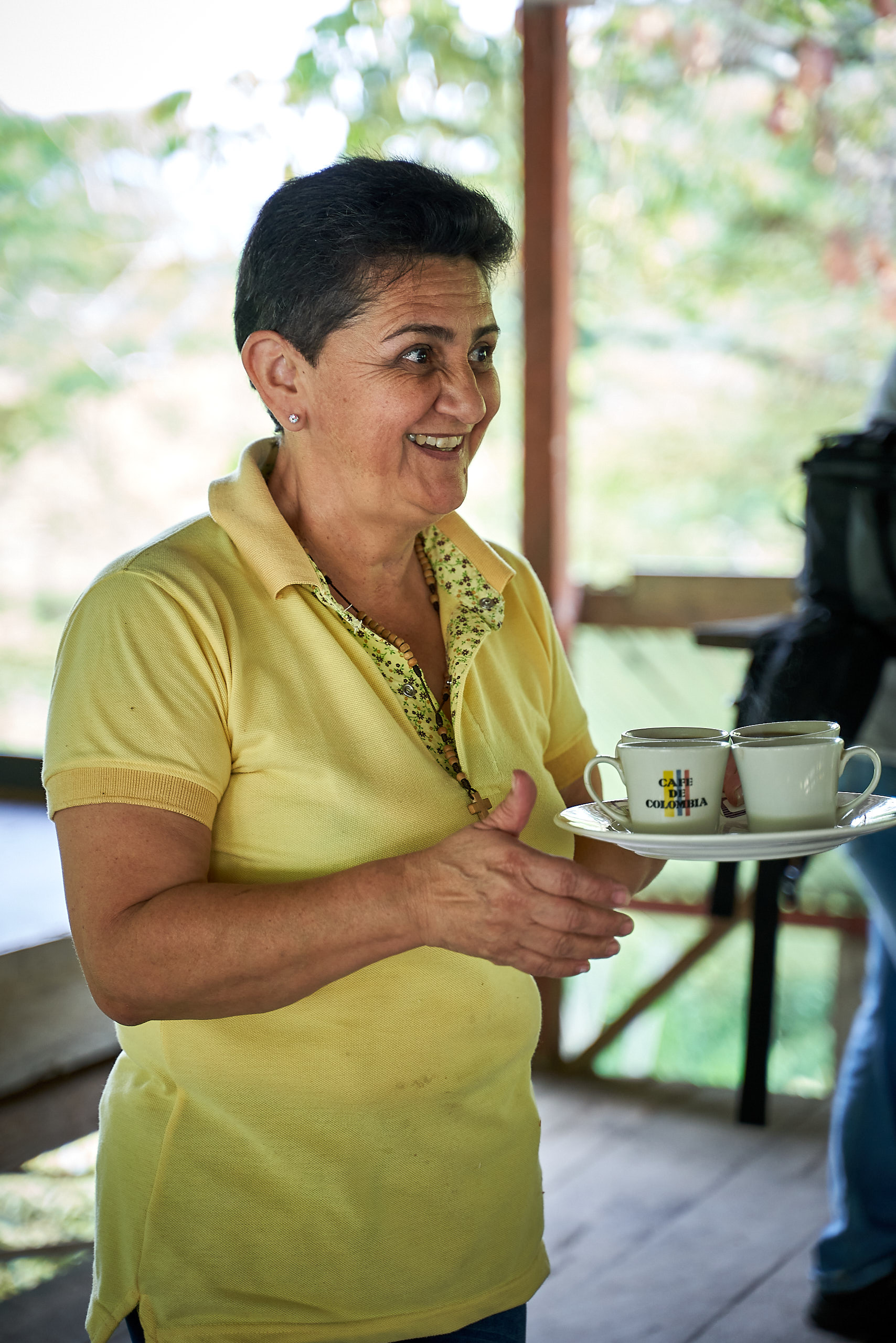 Edith Enciso treating us with some of their beautiful coffee