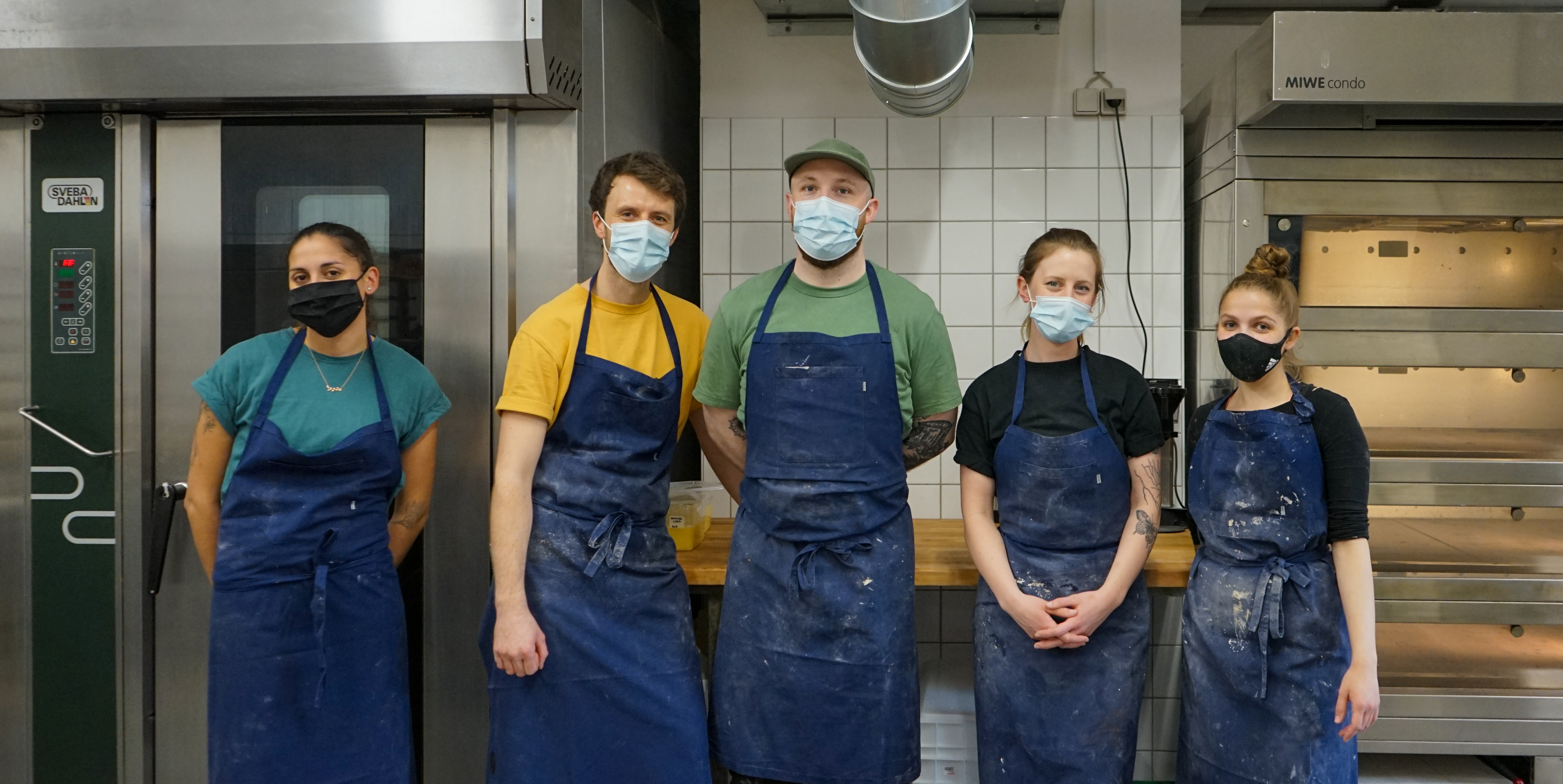 The bakery team (from left): Nicole, Andrew, Michael, Meagan and Fabiana